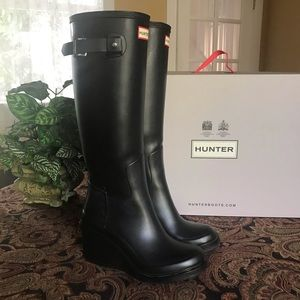 Hunter Original Refined Black Mid Wedge Tall Boots